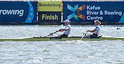 Brandenburg. GERMANY. GBR W2-. bow Helen GLOVER and Heather STANNING. winners womens pair at the<br /> 2016 European Rowing Championships at the Regattastrecke Beetzsee<br /> <br /> Sunday  08/05/2016<br /> <br /> [Mandatory Credit; Peter SPURRIER/Intersport-images]