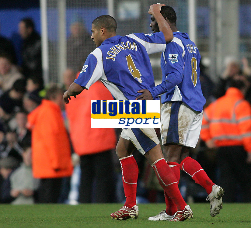 Photo: Lee Earle.<br /> Portsmouth v Wigan Athletic. The FA Cup. 06/01/2007.Glenn Johnson (L) congratulates Andrew Cole after his goal.