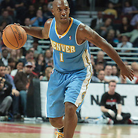 08 November 2010: Denver Nuggets' point guard #1 Chauncey Billups brings the ball upcourt during the Chicago Bulls 94-92 victory over the Denver Nuggets at the United Center, in Chicago, Illinois, USA.