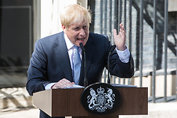 London, UK. 24 July, 2019. Boris Johnson makes a formal address to the nation outside 10 Downing Street after having been appointed Prime Minister by the Queen at Buckingham Palace.