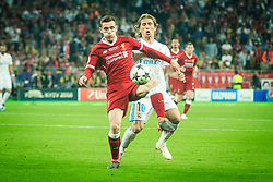 Andrew Robertson of Liverpool vs Luka Modric of Real Madrid during the UEFA Champions League final football match between Liverpool and Real Madrid at the Olympic Stadium in Kiev, Ukraine on May 26, 2018.Photo by Sandi Fiser / Sportida