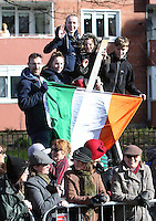 People watch the centenary Easter Rising Parade at Cuffe Street in Dublin. Picture credit; Damien Eagers 27/3/2016