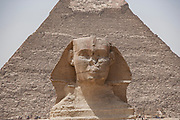 The Great Sphinx of Giza is a limestone statue of a reclining sphinx, a mythical creature. FIt stands on the Giza Plateau<br /> Khafre Pyramid in background