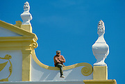 Man with a view in Evora, Portugal
