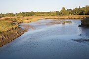 Upper reaches of the tidal part of the River Deben looking upstream from Wilford Bridge, Bromeswell, Suffolk, England