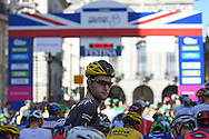 Conor Dunne of Ireland and  JLT Condor presented by Mavic looks back at the start of the Tour of Britain 2016 stage 8 , London, United Kingdom on 11 September 2016. Photo by Martin Cole.