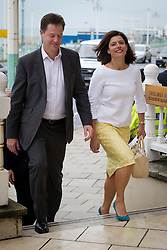 © London News Pictures. 23/09/2012. Brighton, UK.  Deputy Prime Minister Nick Clegg and his wife Miriam arriving at the Hilton Hotel in Brighton to speak to Leadership Programme Candidates on day 2 of the Liberal Democrat autumn conference in Brighton on September 23, 2012.  Photo credit : Ben Cawthra/LNP.