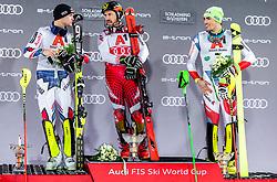 "29.01.2019, Planai, Schladming, AUT, FIS Weltcup Ski Alpin, Slalom, Herren, Siegerehrung, im Bild v.l.: 2. Platz Alexis Pinturault (FRA), Sieger Marcel Hirscher (AUT), 3. platz Daniel Yule (SUI) // f.l.: 2nd placed Alexis Pinturault of France Winner Marcel Hirscher of Austria 3rd placed Daniel Yule of Switzerland during the winner Ceremony for the men's Slalom ""the Nightrace"" of FIS ski alpine world cup at the Planai in Schladming, Austria on 2019/01/29. EXPA Pictures © 2019, PhotoCredit: EXPA/ JFK"