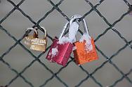 France. Paris.  love locks on the pont des Arts on the Seine river / Paris, Pont des arts. cadenas d amour sur   la passerelle des arts sur la Seine