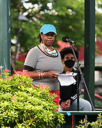 Bar Harbor, Maine. July 19, 2020. Cas Dowden reads the Preamble to the Constitution at the MDI Racial Justice Coalition rally.