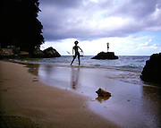 Late afternoon collecting shells on Goldeneye's Fleming Beach. Jamaica 1979