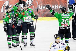 26.01.2014, Hala Tivoli, Ljubljana, SLO, EBEL, HDD Telemach Olimpija Ljubljana vs Dornbirner Eishockey Club, 4. Plazierungsrunde, in picture palyers of HDD Telemach Olimpija celebrate goal during the Erste Bank Icehockey League 4th Placing round between HDD Telemach Olimpija Ljubljana and Dornbirner Eishockey Club at the Hala Tivoli, Ljubljana, Slovenia on 2014/01/26. Photo by Urban Urbanc/ Sportida