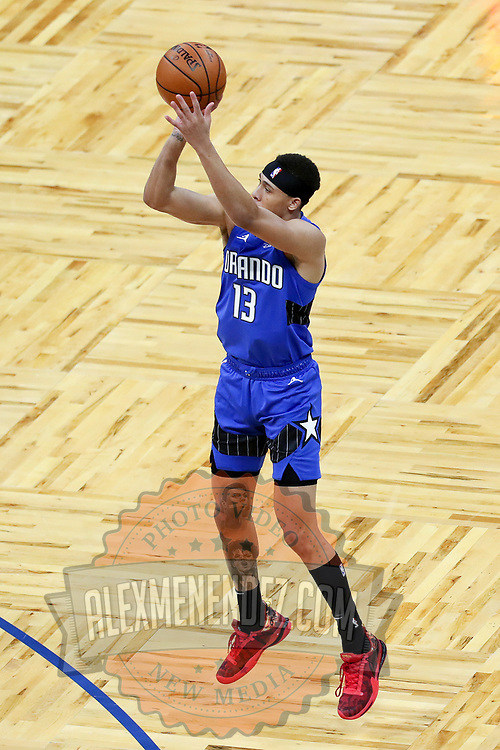 ORLANDO, FL - APRIL 18: R.J. Hampton #13 of the Orlando Magic attempts a shot against the Houston Rockets at Amway Center on April 18, 2021 in Orlando, Florida. NOTE TO USER: User expressly acknowledges and agrees that, by downloading and or using this photograph, User is consenting to the terms and conditions of the Getty Images License Agreement. (Photo by Alex Menendez/Getty Images)*** Local Caption *** R.J. Hampton