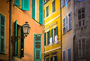 "Typical French windows in the ""Vielle Ville"" part of Nice, France"
