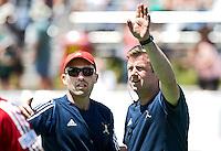 MELBOURNE - De Nederlander Marc Lammers (r)   als coach van de Belgische mannen hockeyselectie aan het werk met zijn assistent Jeroen Delmee,  tegen Australie tijdens de Champions Trophy mannen. ANP KOEN SUYK