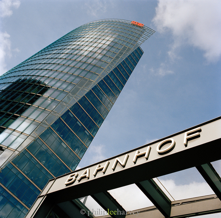 The Bahn Tower and the Bahnhof at Potsdamer Platz, Berlin, Germany