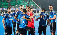 BHUBANESWAR -  Hockey World League finals , Semi Final . Argentina v India. keeper Juan Vivaldi (Arg) met Diego Paz (Arg) ,Juan Gilardi (Arg) ,  links Alan Andino (Arg). , rechts Juan Lopez (Arg) , Lucas Rossi (Arg)  COPYRIGHT KOEN SUYK