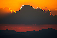 Sunset in the Central Apennines rewilding area, Italy, in and around the Abruzzo, Lazio e Molise National Park.