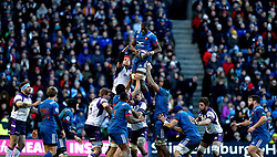 France's Yacouba Camara wins the lineout during the NatWest 6 Nations match at BT Murrayfield, Edinburgh.