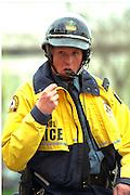 Police security age 34 at Cinco de Mayo festival.  St Paul Minnesota USA