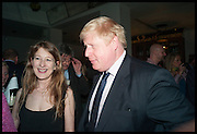 CANDIDA CREWE; BORIS JOHNSON, Launch of Rachel Kelly's memoir 'Black Rainbow' about recovering from depression with the help of poetry published by Hodder & Stoughton , ( Author proceeds will be given to the charities SANE and United Response ). Cafe of the National Gallery.  London. 7 May 2014