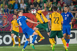 VILNIUS, June 11, 2017  Vykintas Slivka (C) of Lithuania competes during the FIFA World Cup European Qualifying Group F match between Lithuania and Slovakia at LFF Stadium in Vilnius, Lithuania on June 10, 2017. Slovakia won 2-1. (Credit Image: © Alfredas Pliadis/Xinhua via ZUMA Wire)