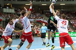 07.06.2014, Ergo Arena, Danzig, POL, IHF WM Qualifikation, Polen vs Deutschland, im Bild Niemcy, Michael Kraus (GER), Michal Jurecki (POL), Kamil Syprzak (POL), Michal Szyba (POL) // during the IHF world championship qualification match between Poland and Germany at the Ergo Arena in Danzig, Poland on 2014/06/07. EXPA Pictures © 2014, PhotoCredit: EXPA/ Newspix/ Tomasz Jastrzebowski<br /> <br /> *****ATTENTION - for AUT, SLO, CRO, SRB, BIH, MAZ, TUR, SUI, SWE only*****