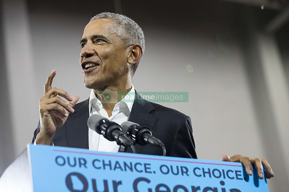 November 2, 2018 - Macon, Georgia, U.S. - Former President BARACK OBAMA speaks during a rally for gubernatorial candidate STACEY ABRAMS in Forbes Arena at Morehouse College. (Credit Image: © Alyssa Pointer/Atlanta Journal-Constitution/TNS via ZUMA Wire)