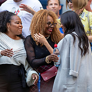 2019 US Open Tennis Tournament- Day Thirteen.    Meghan Markle, Duchess of Sussex is greeted Oracene Price, mother of Serena Williams and  Isha Price, sister of Serena Williams on her arrival to the team box to watch  Serena Williams of the United States in action against Bianca Andreescu of Canada in the Women's Singles Final on Arthur Ashe Stadium during the 2019 US Open Tennis Tournament at the USTA Billie Jean King National Tennis Center on September 7th, 2019 in Flushing, Queens, New York City.  (Photo by Tim Clayton/Corbis via Getty Images)