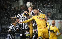 February 11, 2018 - Charleroi, BELGIUM - Charleroi's Kaveh Rezaei and Lokeren's Mijat Maric fight for the ball during the Jupiler Pro League match between Sporting Charleroi and Sporting Lokeren, in Charleroi, Sunday 11 February 2018, on the day 26 of the Jupiler Pro League, the Belgian soccer championship season 2017-2018. BELGA PHOTO VIRGINIE LEFOUR (Credit Image: © Virginie Lefour/Belga via ZUMA Press)