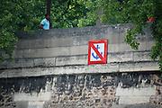 France, Paris, Seine River Traffic sign No docking