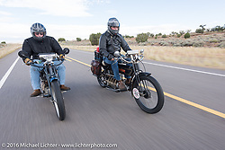 Jeff Tiernan (L) of New York riding his Mark Hill restored 4-cylinder 1913 Henderson class-2 bike beside Vern Acres of Ontario, Canada on his 4-cylinder 1914 Henderson class-2 motorcycle during the Motorcycle Cannonball Race of the Century. Stage-12 ride from Page, AZ to Williams, AZ. USA. Thursday September 22, 2016. Photography ©2016 Michael Lichter.