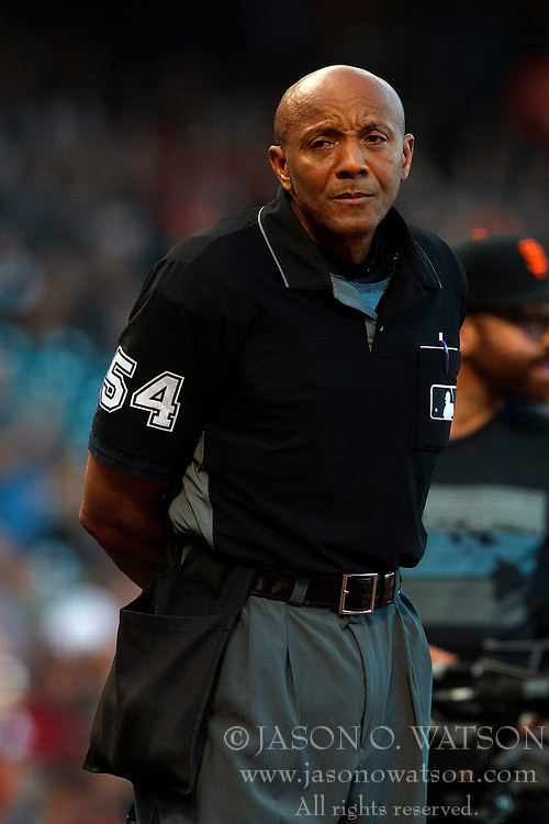 SAN FRANCISCO, CA - JULY 06: MLB umpire CB Bucknor #54 stands on the field during the first inning between the San Francisco Giants and the St. Louis Cardinals at AT&T Park on July 6, 2018 in San Francisco, California. The San Francisco Giants defeated the St. Louis Cardinals 3-2. (Photo by Jason O. Watson/Getty Images) *** Local Caption *** CB Bucknor