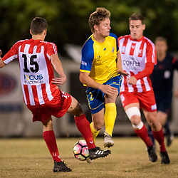 BRISBANE, AUSTRALIA - AUGUST 20:  during the NPL Queensland Senior Mens Round 22 match between Olympic FC and Brisbane Strikers at Goodwin Park on August 20, 2017 in Brisbane, Australia. (Photo by Patrick Kearney/Olympic FC)