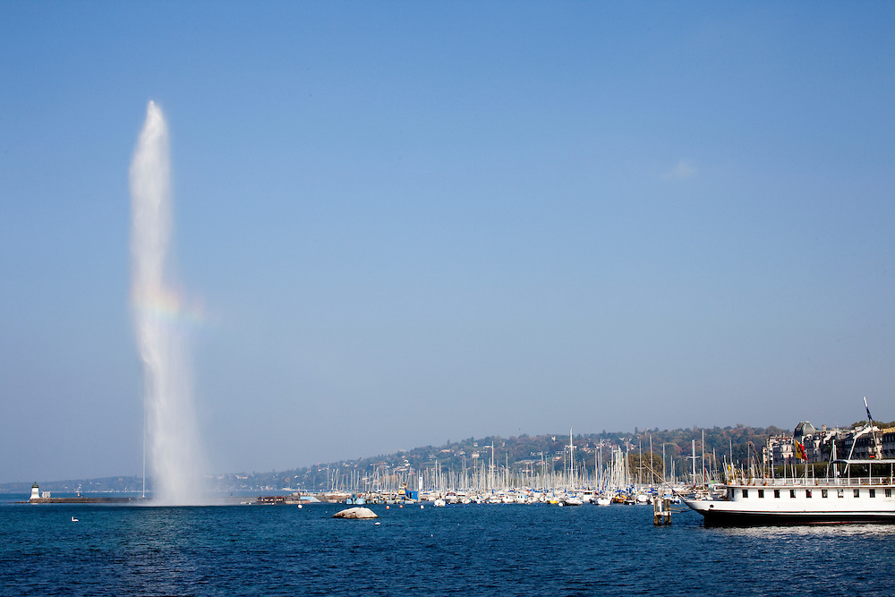 Geneva, Switzerland. October 12th 2010..The Jet d'Eau fountain of Geneva.