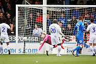 Wycombe goalkeeper Ryan Allsop (1) can\t stop Peterborough Utd forward Marcus Maddison (21) free kick 3-1 during the EFL Sky Bet League 1 match between Peterborough United and Wycombe Wanderers at London Road, Peterborough, England on 2 March 2019.