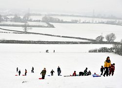 © Licensed to London News Pictures. 05/02/2012, Chinnor, UK. People enjoy the snow in Chinnor, Oxfordshire today 05/02/12.  Heavy snow has fallen over many parts of the UK overnight. Photo credit : Stephen Simpson/LNP