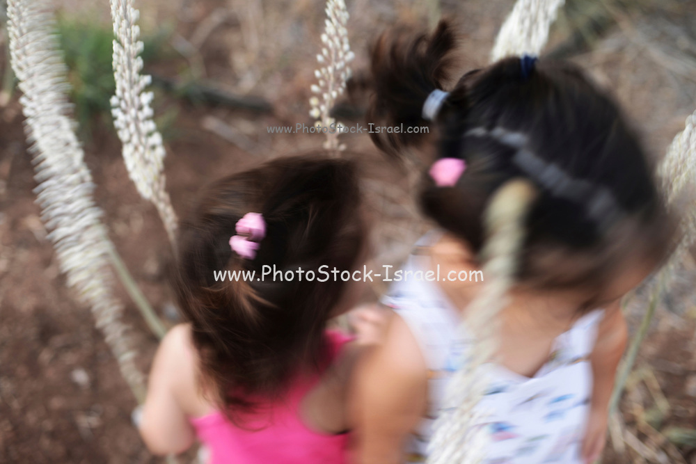 Two young girls palying