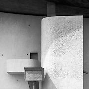 Ronchamp, France, Belfort, 1989: Exterior view of the Chapel of the Notre Dame du Haut (1946)- Le Corbusier arch - Visit Shop Images to purchase and download a digital file and explore other AS images archive. Photographs by Alejandro Sala