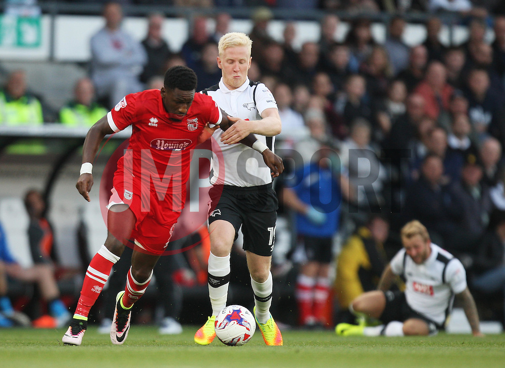 Omar Bogle of Grimsby Town (L) and Will Hughes of Derby County in action - Mandatory by-line: Jack Phillips/JMP - 09/08/2016 - FOOTBALL - iPro Stadium - Derby, England - Derby County v Grimsby Town - EFL Cup First Round