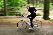 In Lage Vuursche rijdt een man op oudere Giant racefiets door de bossen.<br /> <br /> In Lage Vuursche a man is cycling an older Giant road bike at the woods.