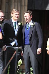 Jack Brooksbank (right), husband of Princess Eugenie, arriving at York Minster for the wedding of singer Ellie Goulding to Caspar Jopling.