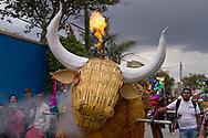 Jóvenes haciendo desfilar el torito que preparaon para ser quemado el 8 de marzo en Tultepec.
