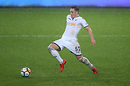 Connor Roberts of Swansea city in action. The Emirates FA Cup, 3rd round replay match, Swansea city v Wolverhampton Wanderers at the Liberty Stadium in Swansea, South Wales on Wednesday 17th January 2018.<br /> pic by  Andrew Orchard, Andrew Orchard sports photography.