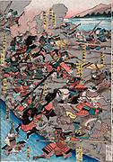 The Great Battle of Kawanakjima in Shinsu: probably the 1561 fourth  battle between the warlords Takeda Shingen and Uesugi Keushin on the plains of the Chikmu River.  Utagawa Yoshitoro (active 1850-1870) Japanese artist.
