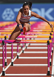 August 11, 2017 - London, England, United Kingdom - Elisávet Pesirídou of Grecee compete in the heats of 100 meter hurdles in London at the 2017 IAAF World Championships athletics at the London Stadium in London on August 11, 2017. (Credit Image: © Ulrik Pedersen/NurPhoto via ZUMA Press)