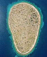 Aerial view of fingerprint island, Bavljenac, Croatia.