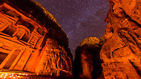 The Treasury lit by candlelight under a starry sky,  (Al-Khazneh), Petra archaeological site (a UNESCO World Heritage site), Jordan.