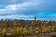 Paris, France -- November 5, 2017 -- Overlooking the Tuilery Gardens on a Paris morning, with the Eiffel tower in the background. Editorial Use Only.