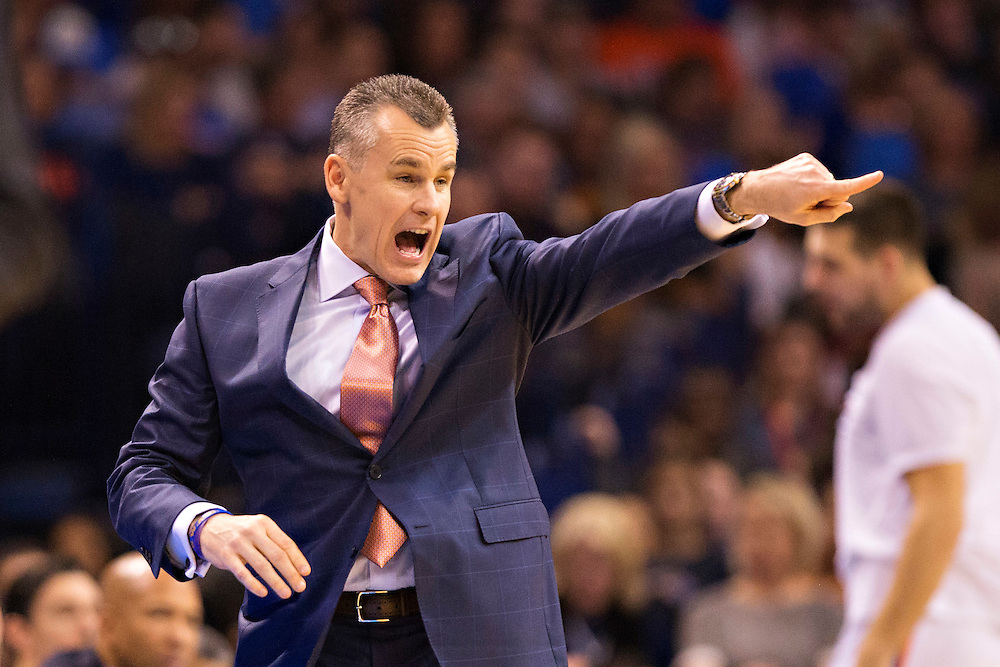 OKLAHOMA CITY, OK - JANUARY 13:  Head Coach Billy Donovan of the Oklahoma City Thunder yells to his team in the first half of a game against the Dallas Mavericks at Chesapeake Energy Arena on January 13, 2016 in Oklahoma City, Oklahoma.  NOTE TO USER: User expressly acknowledges and agrees that, by downloading and or using this photograph, User is consenting to the terms and conditions of the Getty Images License Agreement.   (Photo by Wesley Hitt/Getty Images) *** Local Caption *** Billy Donovan